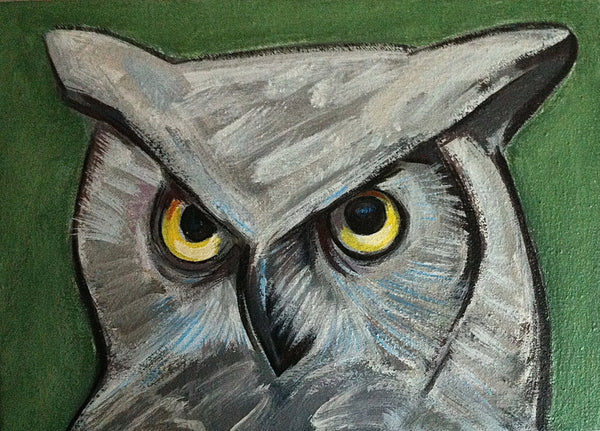Owl Painting, Hoot Owl, Bird Painting, Nature Wildlife Wall Decor for the Home, Original Bird Portrait Painting by Will Wieber - GracieWieber - 1