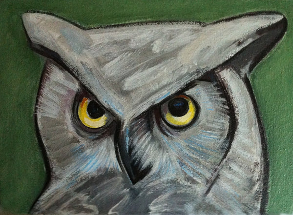 Owl Painting, Hoot Owl, Bird Painting, Nature Wildlife Wall Decor for the Home, Original Bird Portrait Painting by Will Wieber - GracieWieber - 4
