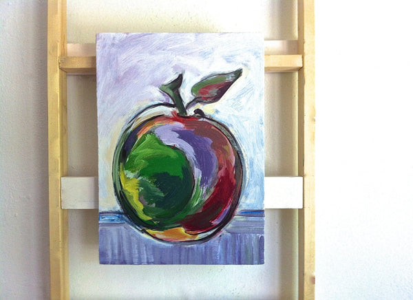 Apple Painting Home Decor Art, Kitchen Wall Art, Fruit Still Life Impressionist Small Red Apple Painting, Dining Room Art, Mcintosh Apple - GracieWieber - 1