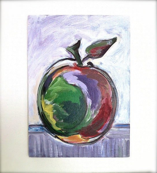 Apple Painting Home Decor Art, Kitchen Wall Art, Fruit Still Life Impressionist Small Red Apple Painting, Dining Room Art, Mcintosh Apple - GracieWieber - 3
