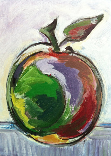 Apple Painting Home Decor Art, Kitchen Wall Art, Fruit Still Life Impressionist Small Red Apple Painting, Dining Room Art, Mcintosh Apple - GracieWieber - 2