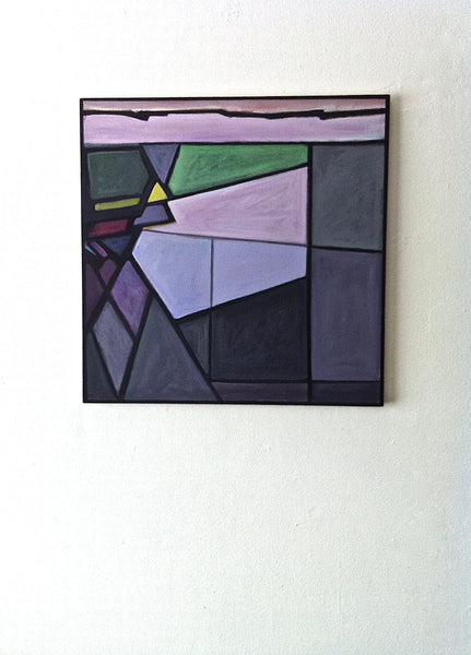 Abstract Painting, Sacred Geometry, Purple Landscape, Geometric Art, Square, Triangle, Original Contemporary Painting - GracieWieber - 2