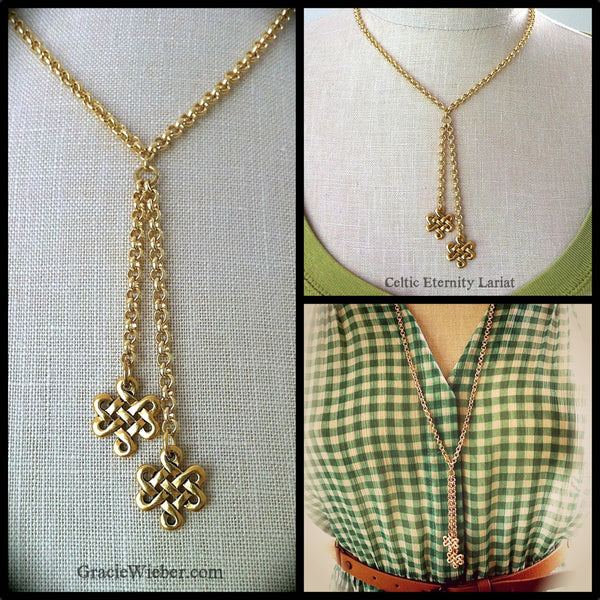 Gold Lariat Celtic Eternity Knot Necklace Outlander Jewelry, Boho Tassel Necklace Irish Jewelry Trinity Love Knot Pendant Gold Rolo Chain - GracieWieber - 2