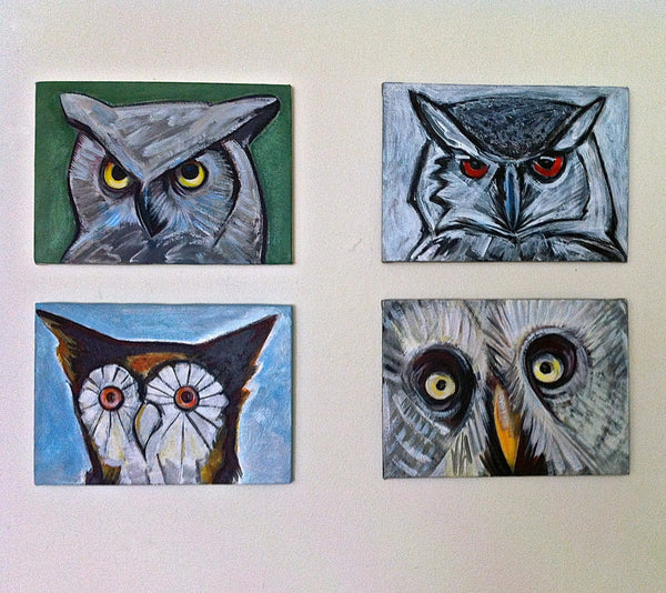 Owl Painting, Hoot Owl, Bird Painting, Nature Wildlife Wall Decor for the Home, Original Bird Portrait Painting by Will Wieber - GracieWieber - 3