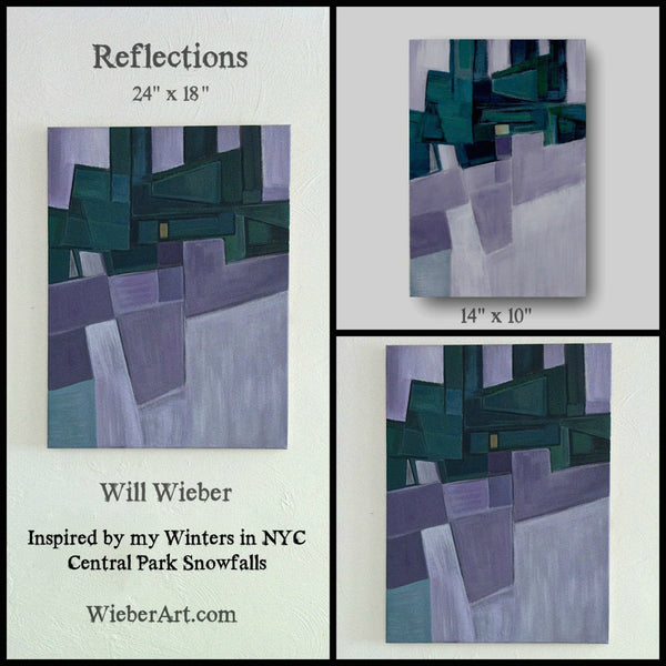 Abstract Painting Urban Landscape Painting Mid Century Modern Wall Art Purple Home Decor Geometric Abstract Art Reflections by Will Wieber - GracieWieber - 3