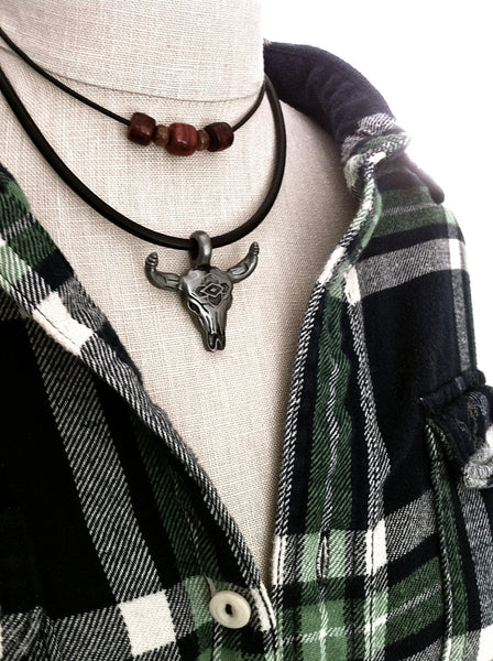 Bull Skull Necklace, Mens Leather Choker, Southwestern, Longhorn Steer, Cow Skull, American Cowboy, Unisex Jewelry - GracieWieber - 1