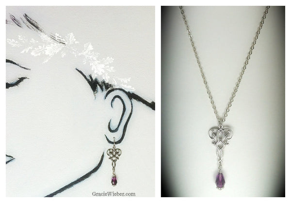 Celtic Silver Scroll Pendant Amethyst Drop Earrings Purple Earrings Crystal Necklace Irish Jewelry Bridesmaid Gift Bridal Jewelry SET - GracieWieber - 2