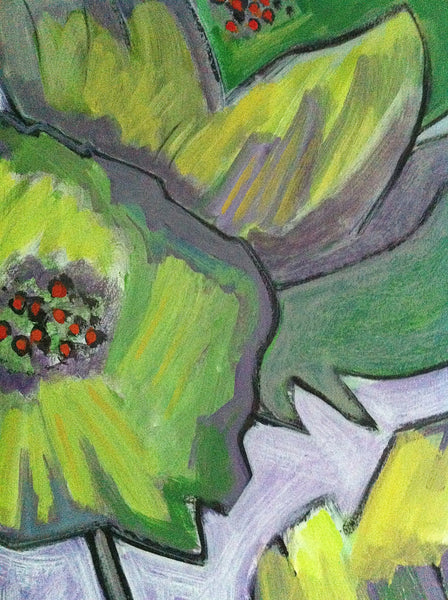 Lime Green Poppies, Flower Art Painting, Abstract Floral Art, Impressionist Painting, Modern Art by Will Wieber - GracieWieber - 3