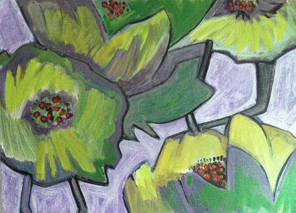 Lime Green Poppies, Flower Art Painting, Abstract Floral Art, Impressionist Painting, Modern Art by Will Wieber - GracieWieber - 2