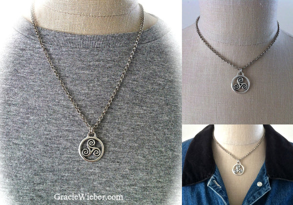 Silver Celtic Triskele Pendant, Unisex Leather Necklace, Triquetra Pendant, Trinacria of Sicily, Men's Boho Jewelry - GracieWieber - 5