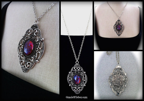 Victorian Gothic Necklace Dragons Breath Opal Pendant Goth Bridal, Gothic Wedding, Victorian Jewelry, Bridesmaid Gift, Mirror on the Wall - GracieWieber - 4