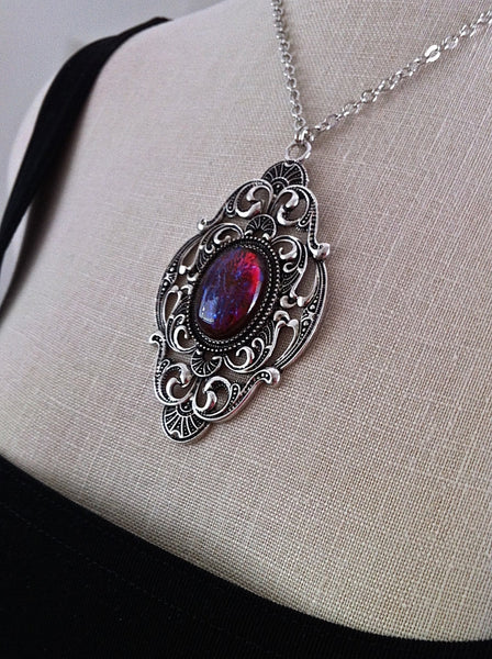 Victorian Gothic Necklace Dragons Breath Opal Pendant Goth Bridal, Gothic Wedding, Victorian Jewelry, Bridesmaid Gift, Mirror on the Wall - GracieWieber - 1
