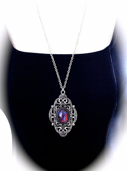 Victorian Gothic Necklace Dragons Breath Opal Pendant Goth Bridal, Gothic Wedding, Victorian Jewelry, Bridesmaid Gift, Mirror on the Wall - GracieWieber - 2