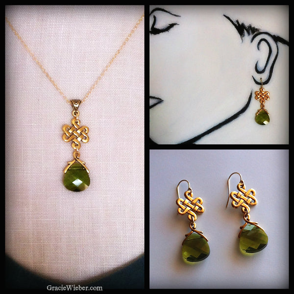 Gold Eternity Knot Necklace Woodland Green Crystal Pendant, Celtic Wedding, Outlander Jewelry - GracieWieber - 2