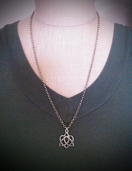 Celtic Heart Love Knot Necklace Sassenach Outlander Jewelry Silver Irish Love Knot Pendant Celtic Jewelry Jamie Claire Fraser Je Suis Prest - GracieWieber - 1