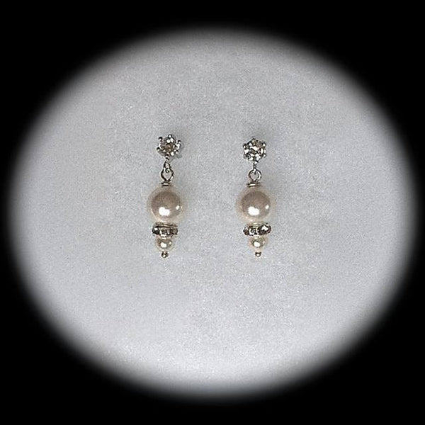 Swarovski Pearl Bridal Earrings, Victorian Pearl Teardrop Earrings, Bridesmaid Gifts, Cubic Zirconia Stud Earrings, Pearl Wedding Jewelry, - GracieWieber - 1