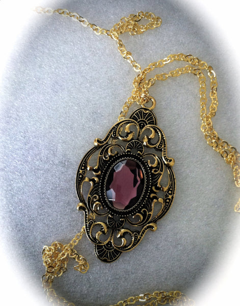 Victorian Gothic Necklace Amethyst Ornate Gold Pendant Goth Bridal, Gothic Wedding, Victorian Jewelry, Bridesmaid Gift, Mirror on the Wall - GracieWieber - 5