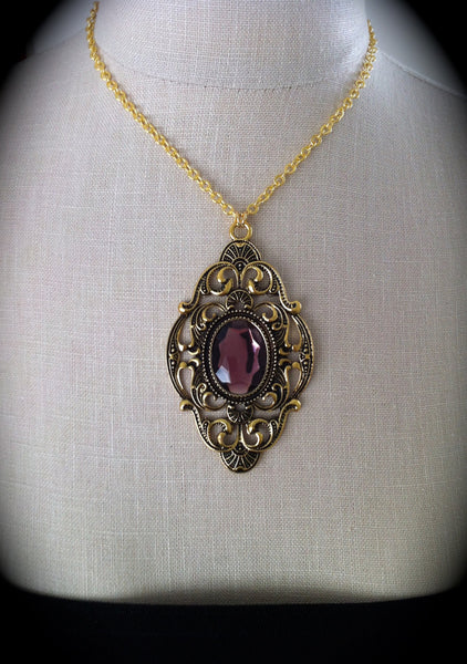 Victorian Gothic Necklace Amethyst Ornate Gold Pendant Goth Bridal, Gothic Wedding, Victorian Jewelry, Bridesmaid Gift, Mirror on the Wall - GracieWieber - 4