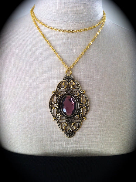 Victorian Gothic Necklace Amethyst Ornate Gold Pendant Goth Bridal, Gothic Wedding, Victorian Jewelry, Bridesmaid Gift, Mirror on the Wall - GracieWieber - 2