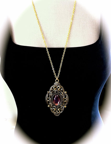 Victorian Gothic Necklace Amethyst Ornate Gold Pendant Goth Bridal Jewelry - GracieWieber - 1