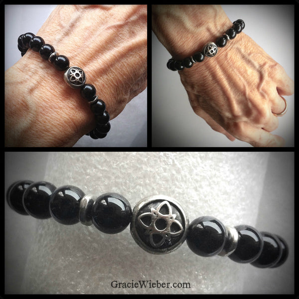 Men's Black Onyx Celtic Star Bracelet - GracieWieber - 1