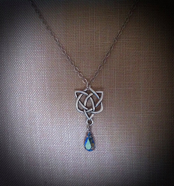 Outlander Jewelry Blue Aura Crystal Necklace Celtic Heart Pendant Sassenach Celtic Blue Aurora Borealis Jewelry Amethyst Sapphire Heliotrope - GracieWieber - 1