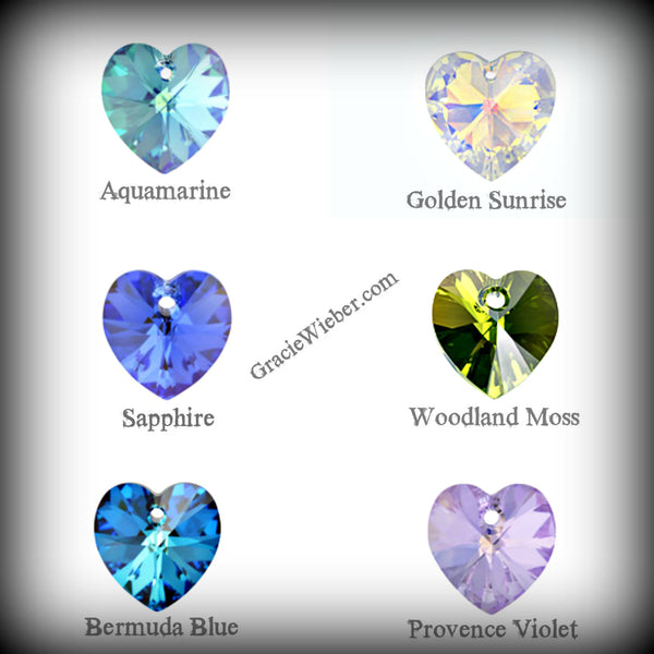 Tiny Heart Necklace Heart, Swarovski Aquamarine, March Birthstone Pendant Flower Girl Gift Swarovski Crystal Heart Pendants - GracieWieber - 2