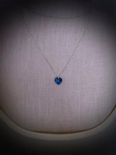 Tiny Heart Necklace Heart, Swarovski Aquamarine, March Birthstone Pendant Flower Girl Gift Swarovski Crystal Heart Pendants - GracieWieber - 3