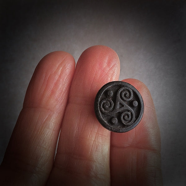 Triskelion Lapel Pin Celtic Jewelry Black Triskele Tie Tack Irish Jewelry Lapel Pin Celtic Lapel Pin GOT Jewelry - GracieWieber - 1