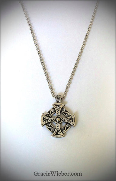 Celtic Cross Necklace, Unisex Celtic Jewelry Mens Cross Religious Jewelry, Irish Jewelry, Mens Sun Solar Celtic Cross - GracieWieber - 1