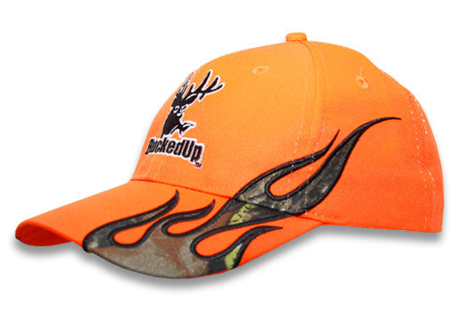 Orange With Camo Flames Hat