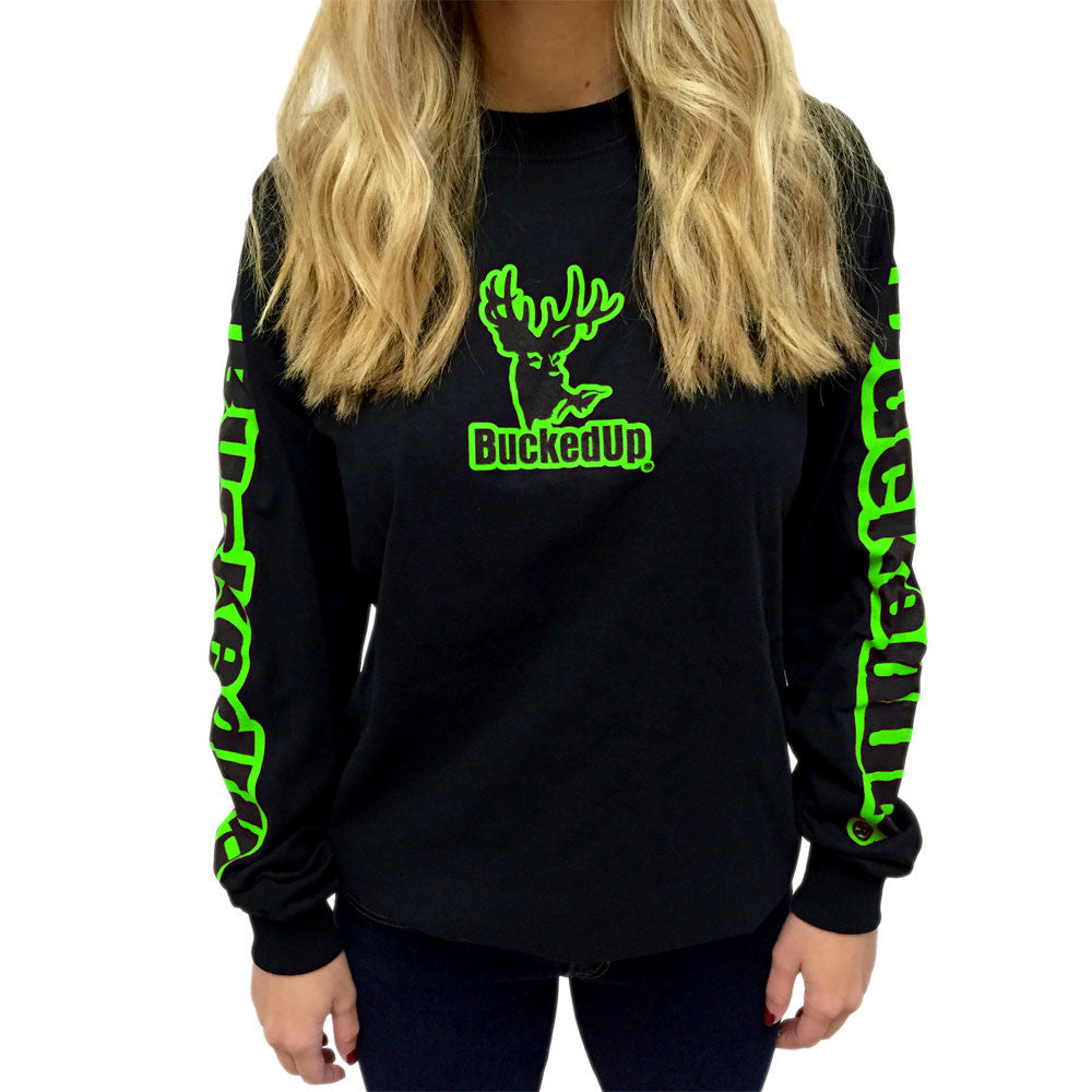 Long Sleeve Black with Green Logo
