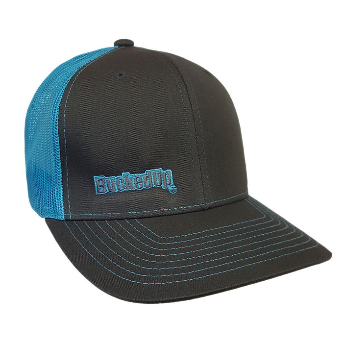 BuckedUp Neon Blue Text Grey with Neon Blue Mesh Snapback