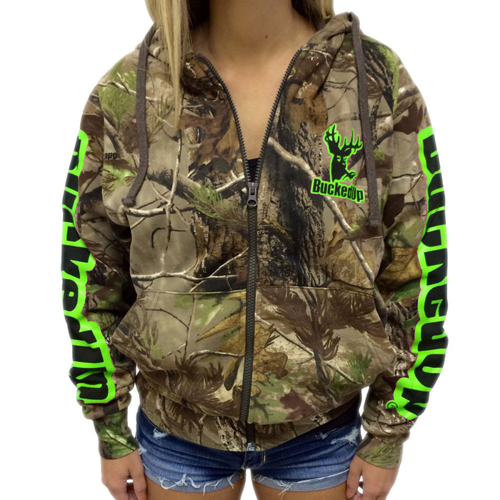 Zipper Hoodie Realtree APG Camo with Green Logo