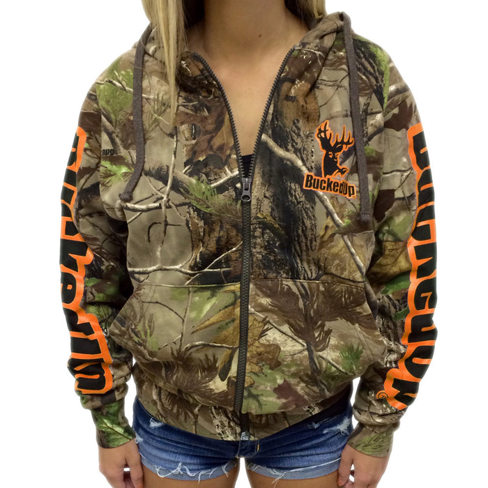 Zipper Hoodie Realtree APG Camo with Orange Logo