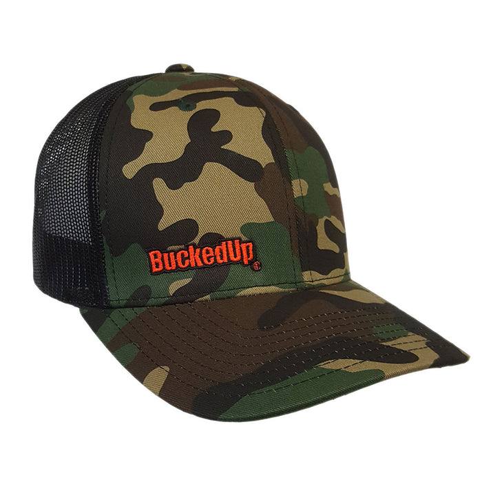BuckedUp Orange Text Camo with Black Mesh Snapback