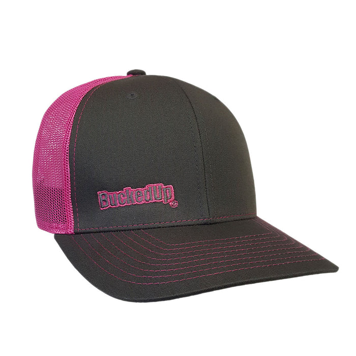 BuckedUp Neon Pink Text Grey with Neon Pink Mesh Snapback