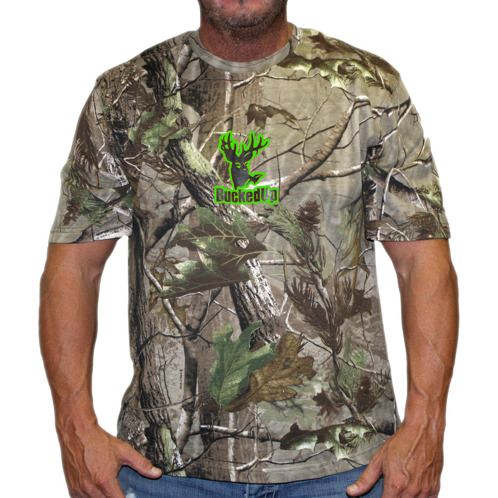 Short Sleeve Realtree APG Camo with Green Logo