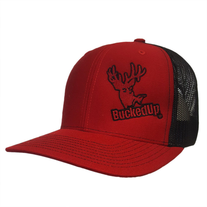 BuckedUp Red with Black Mesh Snapback