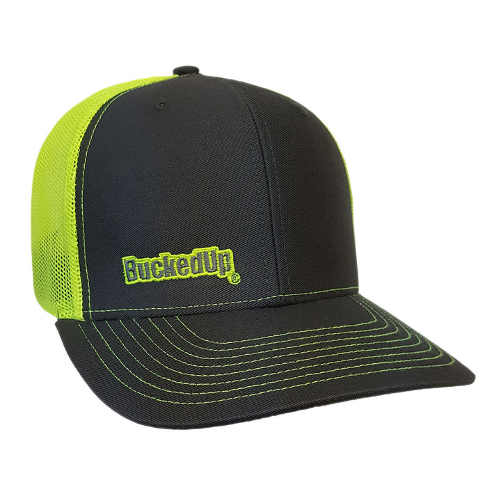 BuckedUp Safety Green Text Grey with Safety Green Mesh Snapback