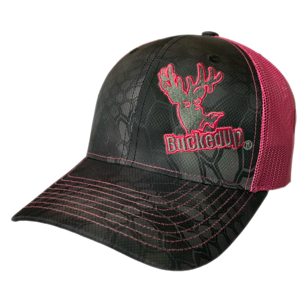 BuckedUp Safety-Pink Black Kryptek with Safety-Pink Mesh Snapback