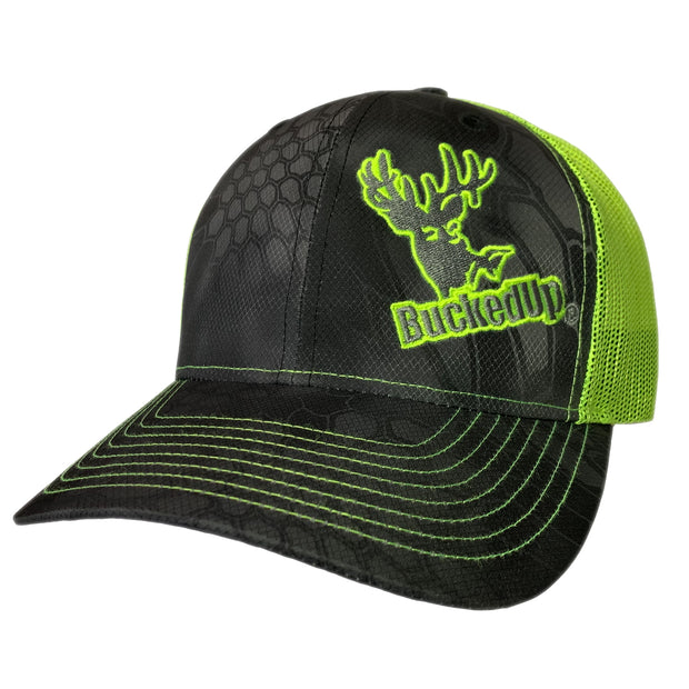 BuckedUp Safety-Green Black Kryptek with Safety-Green Mesh Snapback