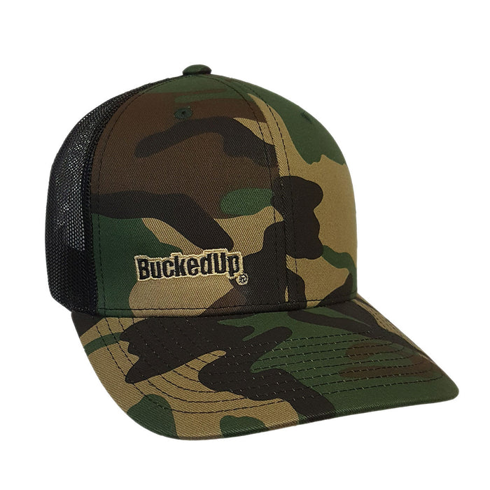BuckedUp Tan Text Camo with Black Mesh Snapback