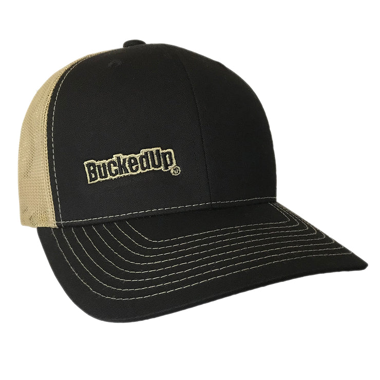 BuckedUp Tan Text Black with Tan Mesh Snapback