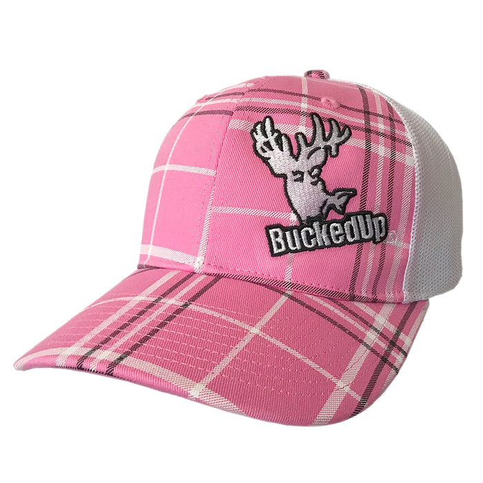 BuckedUp White Pink Plaid with White Mesh Snapbacks