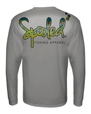 Performance Long Sleeve Silver with Spooled Mahi Skin Logo SPF-30
