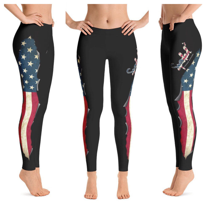 Spooled American Flag Dark Grey Leggings