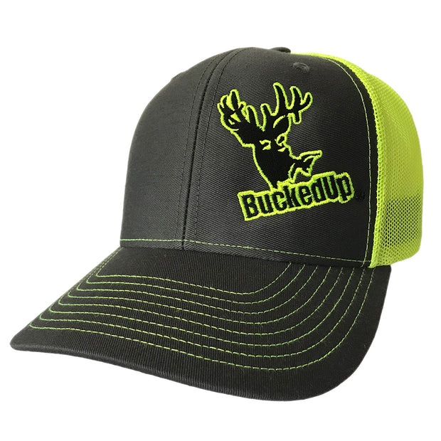 BuckedUp Grey with Neon Green Mesh Snapback