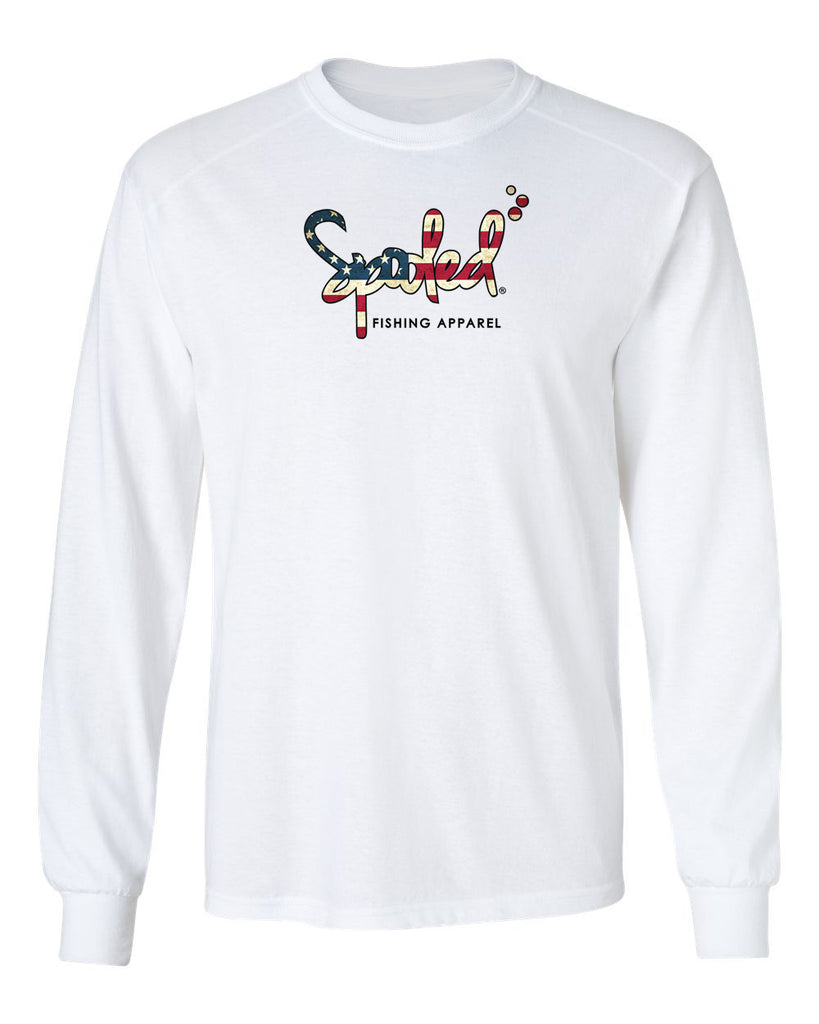 Performance Long Sleeve White with Spooled American Flag Logo SPF-30