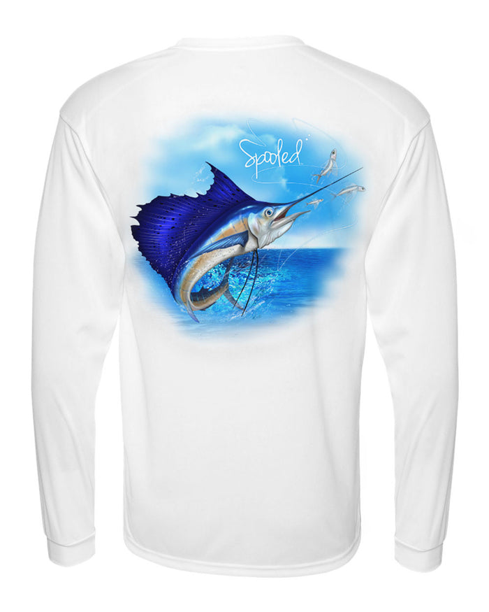 Performance Long Sleeve White with Spooled Sailfish SPF-30